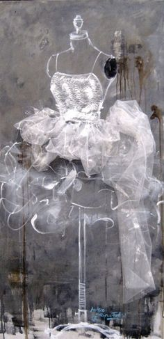 A Beautiful Mess | by Andrea Stajan-Ferkul | acrylic/mixed media on canvas (tulle fabric is applied)
