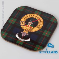 Gunn Clan Crest and Tartan Coasters. Free worldwide shipping available