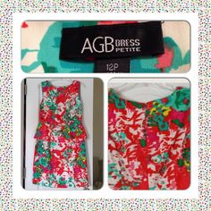 Pretty colored flowery dress Beautiful dress worn two times, fits more like a 10 size. Jewelry set included  AGB Dresses