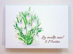 Felicitare 8 Martie - Ghiocei, format C6 cu plic, adauga mesaj gratis 8 Martie, Ebay