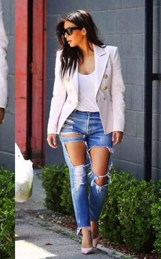 jeans hot jacket blouse cardigan sunglasses high heels top summer outfits beige nude classy ripped jeans denim skinny pants hot pants kim kardashian coat platform shoes t-shirt crop tops white white t-shirt white crop tops denim jacket winter jacket winter outfits style streetwear streetstyle