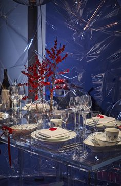 Christmas table setting with porcelain services from Royal Copenhagen.