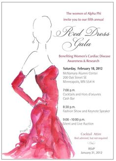 Epsilon-Minnesota's 2013 Red Dress Gala Invitation. What a beautiful red dress!