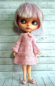 Blythe Doll Knitted Alpaca Tiered Dress by AuntieShrews on Etsy