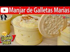 """MANJAR DE GALLETAS MARIAS Postre super fácil y delicioso!! """" By Vicky Receta Facil """" Si te gusta dinos HOLA y dale a Me Gusta MIREN…   Receitas Soberanas"""