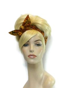 Autumn Headband, Wired Headband, Autumn Fashion, Dolly Bow Reversible Headband Fabric Headband Cute Headband Orange Gold Brown Yellow Leaves by foreverandrea on Etsy