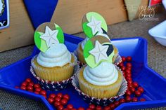 Camo cupcakes at a military birthday party! See more party ideas at CatchMyParty.com!