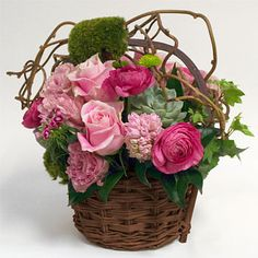 Mark's Garden-shades of pink basket floral arrangement Basket Flower Arrangements, Flower Centerpieces, Floral Arrangements, Silk Flowers, Beautiful Flowers, Mothers Day Flowers, Arte Floral, Flower Delivery, Ikebana