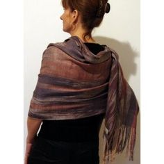Grey and peach shawl by Heidi Lichterman.