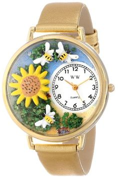 Whimsical Watches Unisex G1210009 Sunflower Gold Leather Watch - http://www.artistic-watches.com/2015/03/08/whimsical-watches-unisex-g1210009-sunflower-gold-leather-watch/