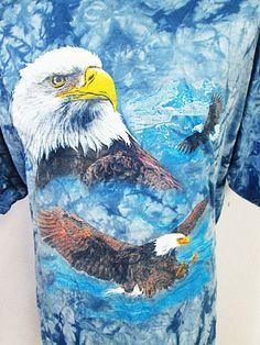 Vintage Tie Dye Eagle Blue Animal Print Psychedelic T-Shirt XL