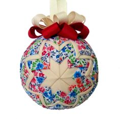Quilted Christmas Ornament  Floral Blooms (Red & Blue Flowers)  by Quilted Keepsake Ornaments - visit my Etsy shop $25.00