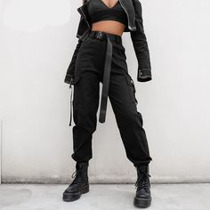 Streetwear Cargo Pants Women Casual Joggers Black High Waist Loose Female Trousers Korean Style Ladies Pants Capri Green Black Khaki Brand Name: heyoungirlLength: Full LengthMaterial: SpandexMaterial: COTTONModel Number: Type: SolidStyl Cargo Pants Women, Trousers Women, Pants For Women, Clothes For Women, Ladies Pants, Cargo Pants Outfit, Black Clothes, Harem Pants, Women's Clothes
