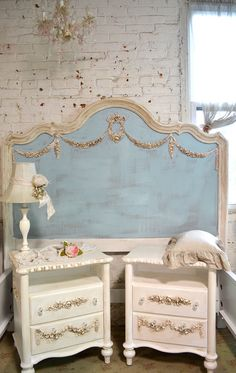 Painted Cottage Shabby Farmhouse Romantic Bed HKBD06
