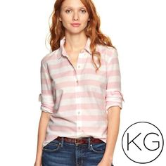 """Gap Fitted Boyfriend Striped Oxford Shirt In great pre-owned condition! •Women's size M •100% Cotton •18.5"""" from underarm to underarm, 25"""" from shoulder to hem •Retail $55 no trades nor lowball offers Thank you for shopping in my closet! GAP Tops Button Down Shirts"""