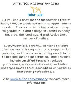 Tutoring opportunity for military families.