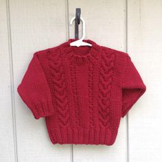 Kids red sweater 1 to 2 years Childs Christmas by LurayKnitwear