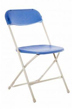 Economy Plastic Folding Chair - Grey Frame - Blue Shell