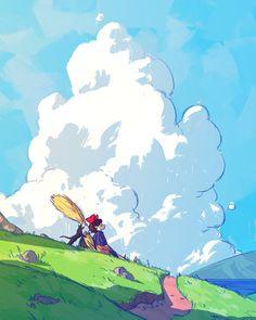 totoro by spiridt on DeviantArt Studio Ghibli Art, Studio Ghibli Movies, Japon Illustration, Castle Illustration, Arte Sketchbook, Howls Moving Castle, Old Art, Anime Scenery, Animes Wallpapers
