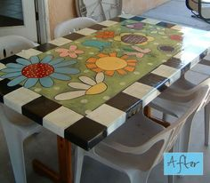 Think Ima gonna paint a table! This wouls be so cute on the patio with painted cairs to match..