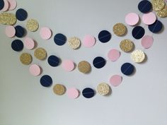 Gold glitter, light pink, navy blue circle paper garland, baby shower bridal…