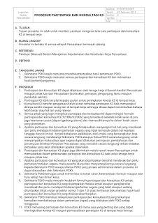 Contoh Prosedur Partisipasi dan Konsultasi K3 - OHSAS 18001 : 2007