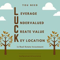 you need luck in real estate investment. Leverage, undervalued, create value, key location