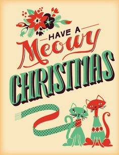 Meowy Merry Christmas retro black cats card - mid-century modern // @purelectricity