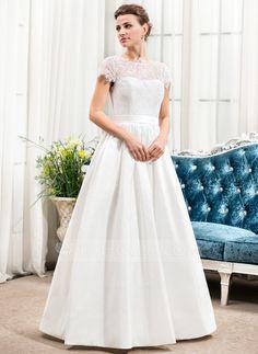Corte A/Princesa Escote redondo Hasta el suelo Tafetán Charmeuse Encaje Vestido de novia con Bordado Lentejuelas Lazo(s) (002056470)