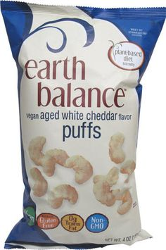 New Dairy-Free White Cheddar Puffs and Popcorn from Earth Balance. The Vegan Aged White Cheddar Puffs are made with corn and navy beans.  They are free of dairy, wheat, gluten, eggs, soy, peanuts, tree nuts, GMOs, and trans fats. KidsWithFoodAllergies.org