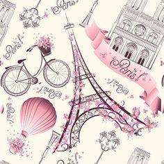 Papel de Parede Paris em Tons de Rosa - Papel de Parede Digital