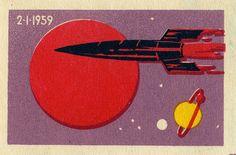 Russian matchbox label. January 2, 1959 USSR launches Mechta (Luna 1) for 1st lunar fly-by, 1st solar orbit. via maraid on Flickr