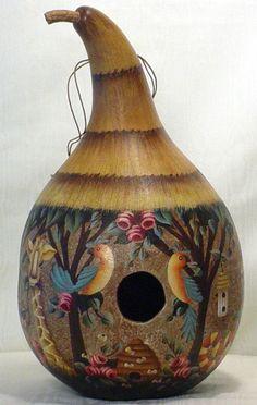 Love to hang a Gourd Birdhouse in the garden!