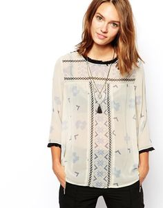 Maison Scotch Top with Tassle Collar