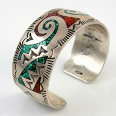 HALLMARKED Old Pawn Navajo Sterling Turquoise Coral Chip Inlay Cuff Bracelet PS