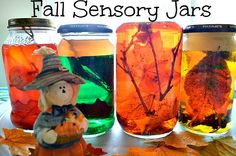 Sensory jars are a great way to teach the senses and have fun at the same time. Add water to a few empty glass jars and add apple pie spice or cinnamon to teach smell. Add about 1/3 cup of vegetable oil and yellow food color, and watch the color mix with the water. Then add nature bits like sticks, leaves, pieces of a pinecone, etc. and teach the touch sensory.