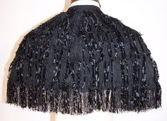 Victorian Black Silk Chenille Fringe Short Cropped Cloak Cape Capelet back view.