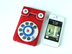 Dial Phone iPhone case No.67 (red & blue) by Hine Mizushima