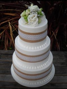 Country Wedding Cakes 3 tier wedding cake with burlap and lace trim by Finesse Cakes by Ingrid, Melbourne 3 Tier Wedding Cakes, Country Wedding Cakes, Wedding Cake Rustic, Wedding Cakes With Flowers, Cool Wedding Cakes, Wedding Cake Designs, Cake Flowers, Table Wedding, Diy Wedding