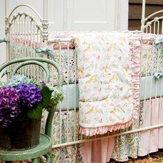Love Birds Crib Bedding | Baby Girl Crib Bedding in Love Birds | Carousel Designs - use it as curtains?