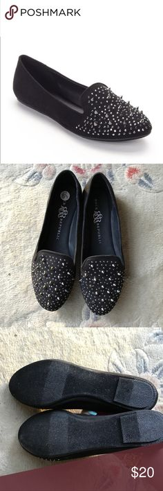 Rock and Republic black silver studded loafer Edgy pair of loafers in new without tags condition! These have never been worn outside, only tried on in store. These are true to size and very comfortable. There are no defects. Silver hardware. Bundle to save money on your purchase, and I love offers!  Microsuede upper Manmade lining TPR outsole  Round toe Slip-on Padded footbed Rock & Republic Shoes Flats & Loafers