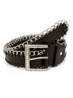 Decorate your outfit with this fashion belt with rhinestone buckle, chain trim detail and adjustable buckle closure. Imported. FINAL SALE, NON-RETURNABLE.