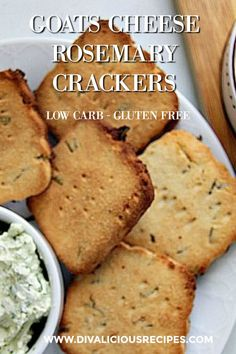 These delicious goats cheese crackers are flavoured with fresh rosemary and make a great gluten free and low carb cracker to have alongside with a dip.