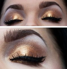gold eyeshadow with winged liner. party makeup