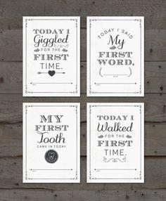 Printable Baby Milestone Card Set PLUS FREE by MarieCoutureDesigns