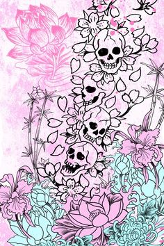 .pink skullies and flowers