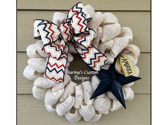 Patriotic Burlap Wreath Burlap Wreath by marinascustomdesigns
