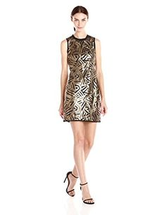Vince Camuto Sleeveless Sequin Dress in Gold/Black - http://www.womansindex.com/vince-camuto-sleeveless-sequin-dress-in-goldblack/