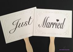 Wedding Photo prop signs Just Married signs double by DiahChristie