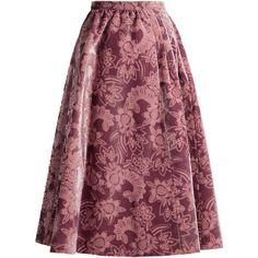 Erdem Teresa gathered-waist velvet-devoré midi skirt (39.610.880 IDR) ❤ liked on Polyvore featuring skirts, pink, flared midi skirt, pink skirt, vintage floral skirt, knee length flared skirts and floral flare skirt